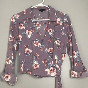 NWOT Mine Purple Floral Crop Tie Blouse